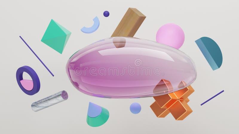 Plats av bubblan och fasta primitiva geometriska former stock illustrationer
