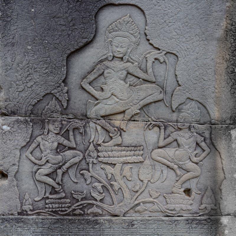 Plats av dansen på väggar av Angkor Thom, Siem Reap, Cambodja arkivfoto