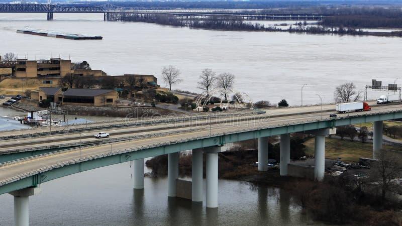 Plats av den Mississippi River pråm vid Memphis, Tennessee fotografering för bildbyråer