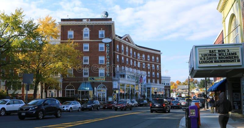 Plats av det Northampton hotellet i Northampton, Massachusetts royaltyfri foto