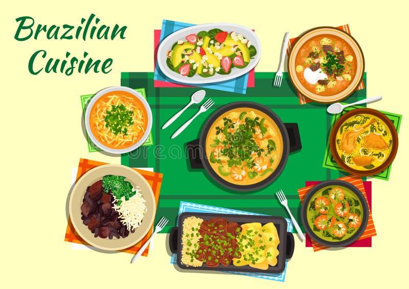 Plats brésiliens de cuisine avec les soupes épaisses, ragoûts illustration libre de droits