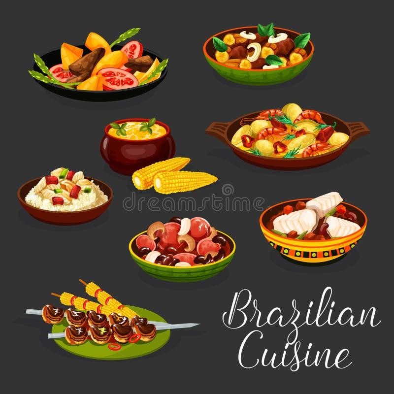 Plats brésiliens de viande avec des légumes et des fruits de mer illustration de vecteur
