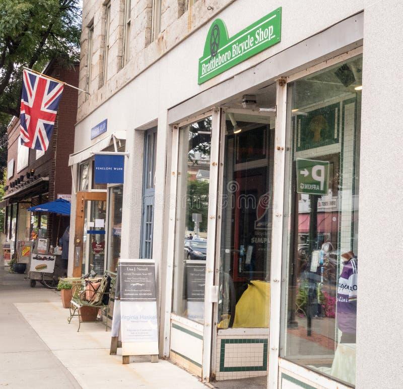 Plats Brattleboro Vermont för kommersiell gata fotografering för bildbyråer