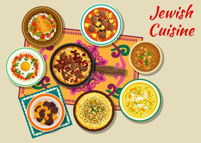 Plats cachers de cuisine juive pour l'icône de dîner illustration stock
