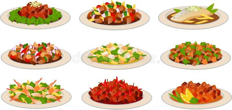 Plats chinois de nourriture illustration libre de droits