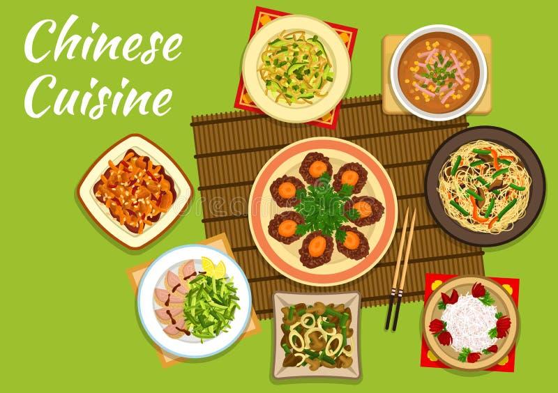 Plats chinois nationaux de cuisine pour la conception de menu illustration de vecteur - Chinois pour la cuisine ...
