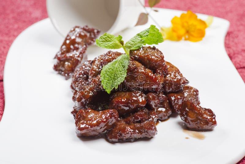 Plats chinois, rôti de porc photographie stock