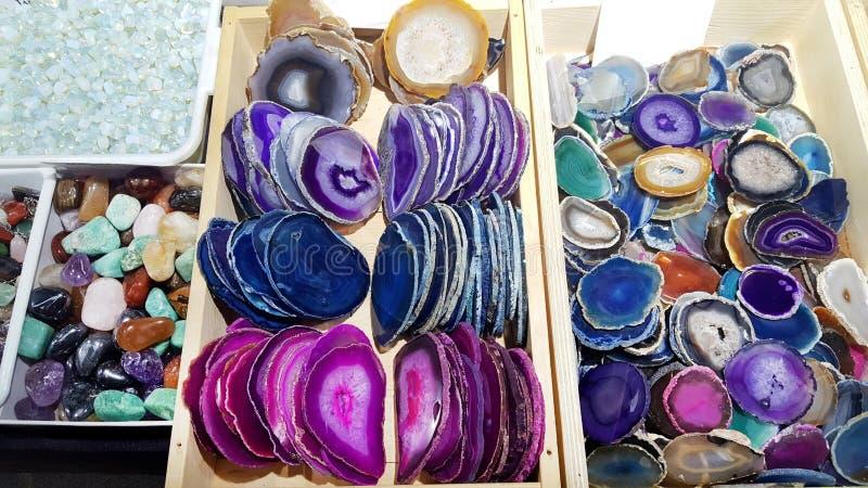 Plats colorés d'agate photographie stock libre de droits
