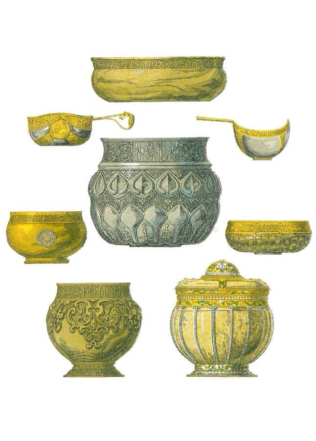Plats, cuvettes et tasses royaux illustration de vecteur