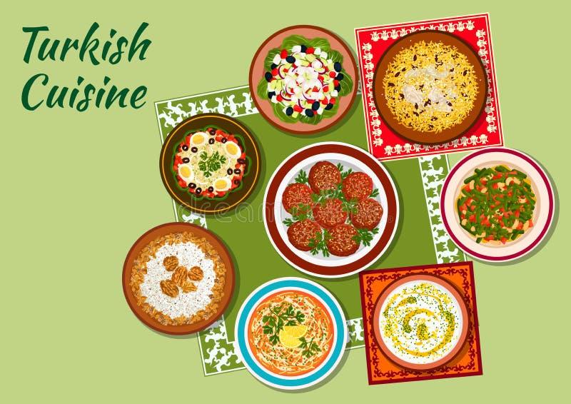 Plats d'été d'icône turque de cuisine illustration stock