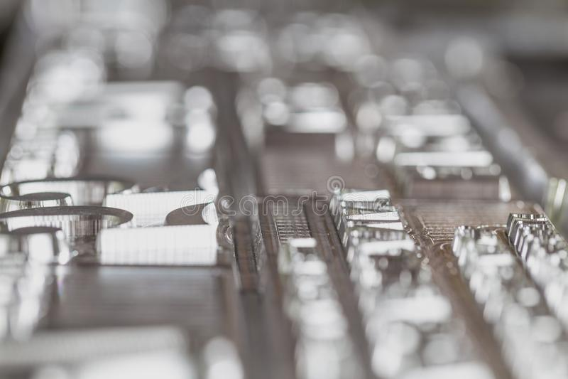 Plats d'aluminium pour la reproduction des matériaux imprimés Abstraction photographie stock