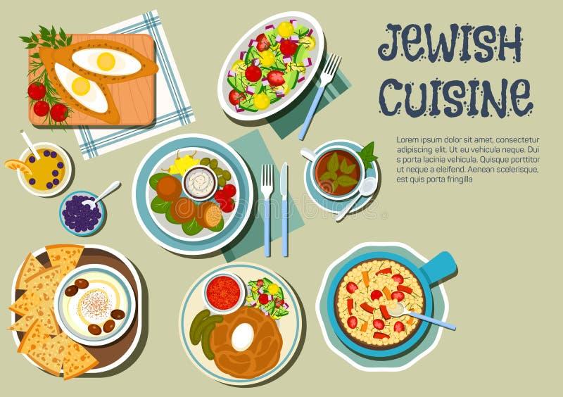 Plats de jour de Shabbat d'icône plate de cuisine juive illustration stock
