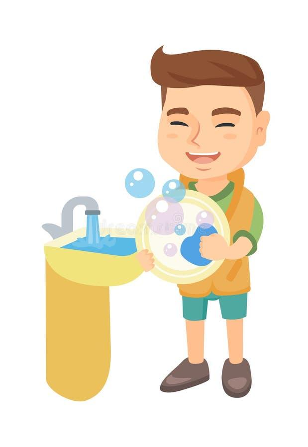 Plats de lavage de petit garçon caucasien dans l'évier illustration stock