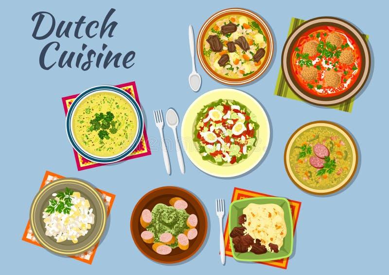 Plats de menu néerlandais de cuisine illustration libre de droits