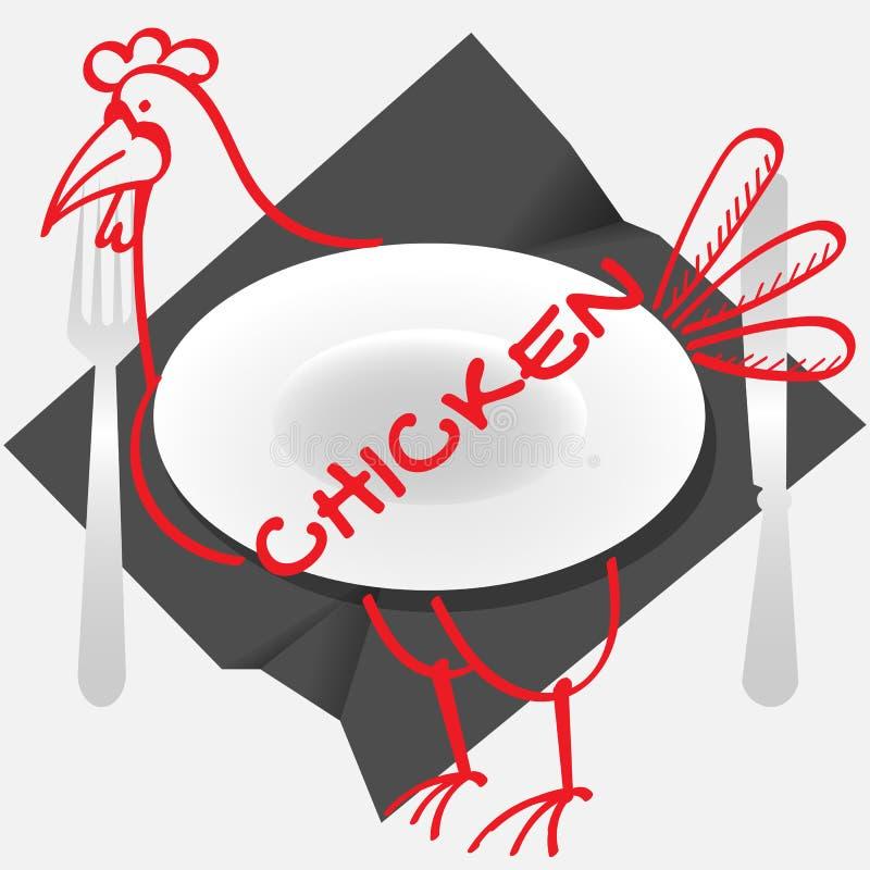 Plats de poulet de logo avec un plat de poulet et des couverts sur une serviette chiffonnée illustration de vecteur