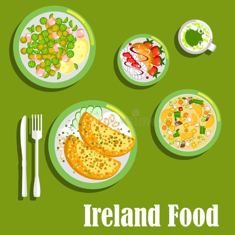 Plats de viande riches d'icône plate de cuisine irlandaise illustration de vecteur