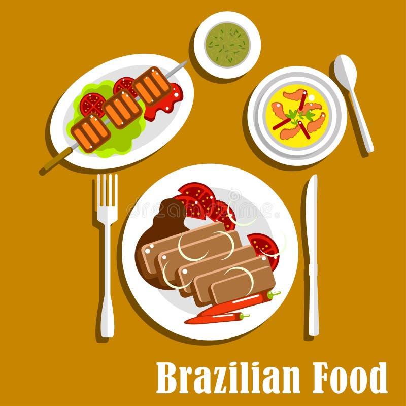 Plats et casse-croûte brésiliens de dîner de cuisine illustration de vecteur