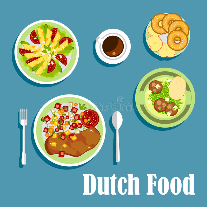 Plats et desserts néerlandais nationaux de cuisine illustration de vecteur