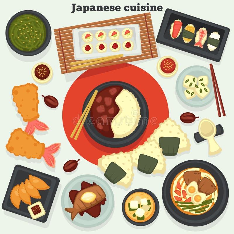 Plats et repas japonais nourriture et fruits de mer orientaux de cuisine illustration stock