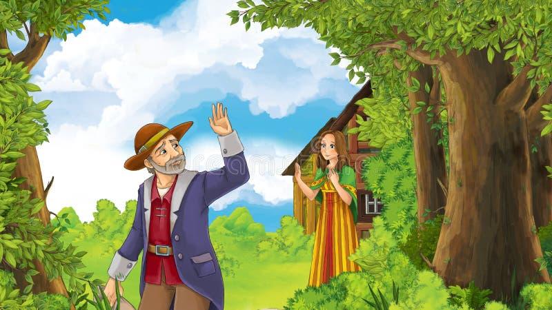 Plats för lycklig och rolig lantgård för tecknad film med fadern som vinkar för farväl till dottern - gå någonstans royaltyfri illustrationer
