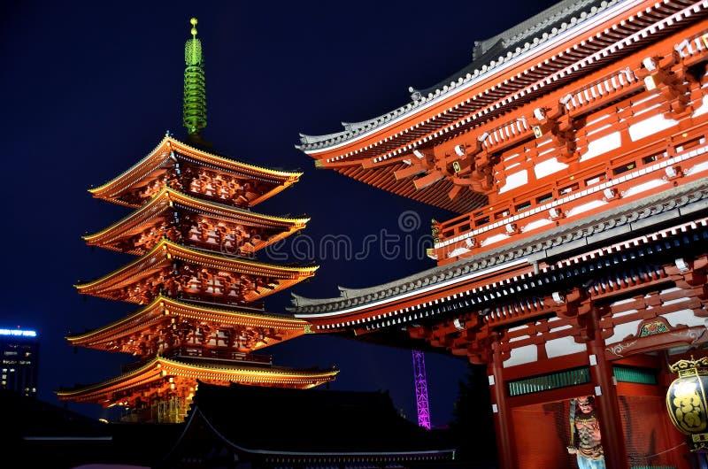 Plats för Sensoji tempelAsakusa Tokyo Japan natt arkivbilder