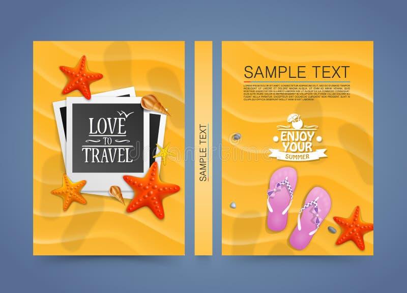 Plats för sommarstrandsemester med den plana fotoramen sanden vektor illustrationer