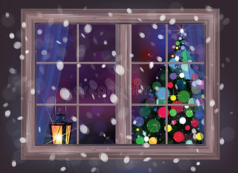 Plats för vektorvinternatt av fönstret med julgranen och lant stock illustrationer