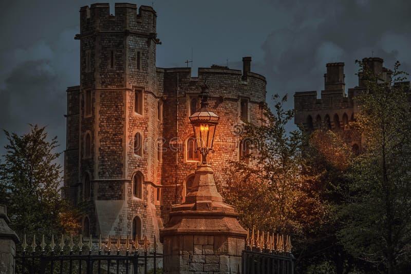 Plats för Windsor slottnatt arkivfoton