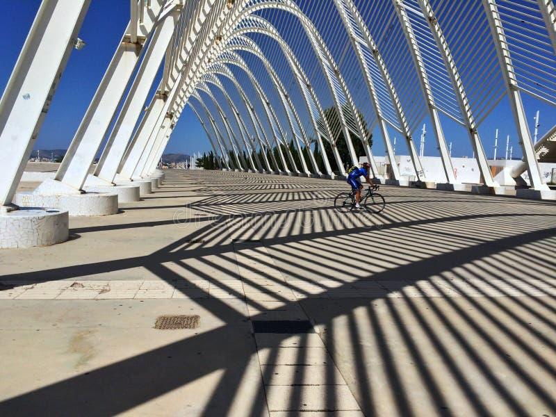 Plats från den olympiska staden, med konstruktioner för vit metall, royaltyfria foton