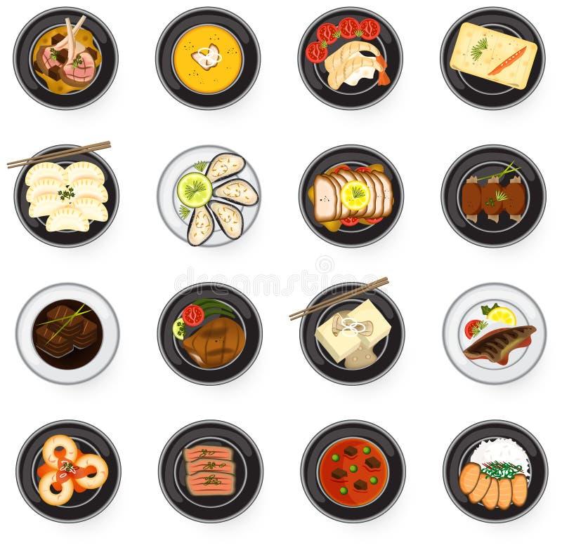 Plats gastronomiques internationaux de cuisine d'asiatique à l'Américain et à l'Eu illustration stock