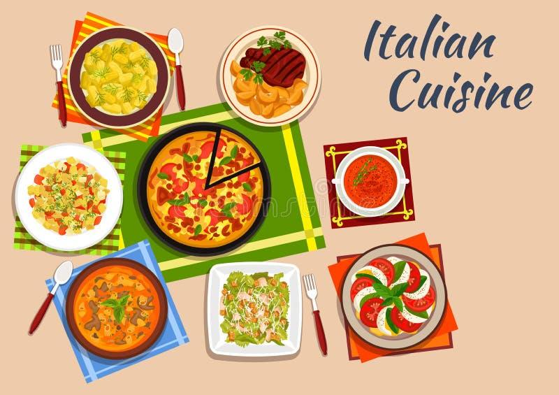 Plats italiens nationaux de menu de cuisine illustration stock
