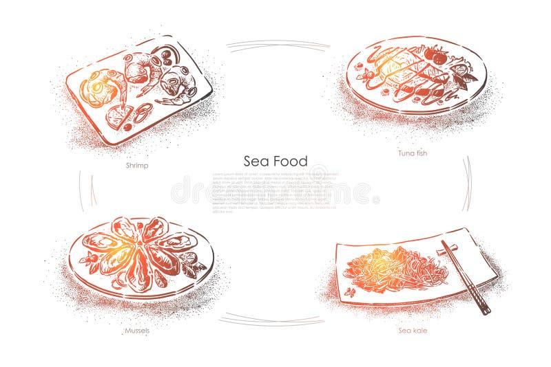 Plats marins délicieux, crevette, thons, moules et chou marin, dîner gastronomique, menu de restaurant de fruits de mer, bannière illustration libre de droits