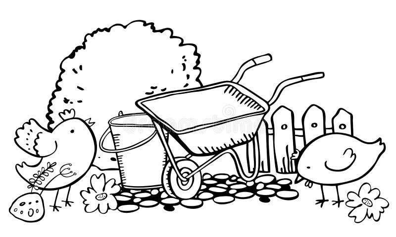 Plats med att arbeta i trädgården hjälpmedel och hönor Skottkärra, hink, staket och buske Översikten för färg för vektorhanden sk royaltyfri illustrationer
