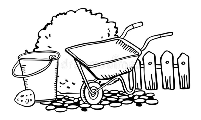 Plats med att arbeta i trädgården hjälpmedel Skottkärra, hink, staket och buske Översikten för färg för vektorhanden skissar den  vektor illustrationer