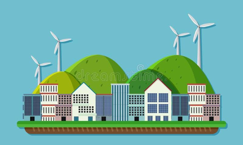 Plats med byggnader och vindturbiner royaltyfri illustrationer