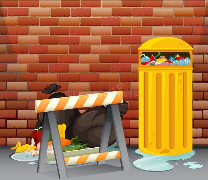 Plats med smutsigt avfall på golvet royaltyfri illustrationer