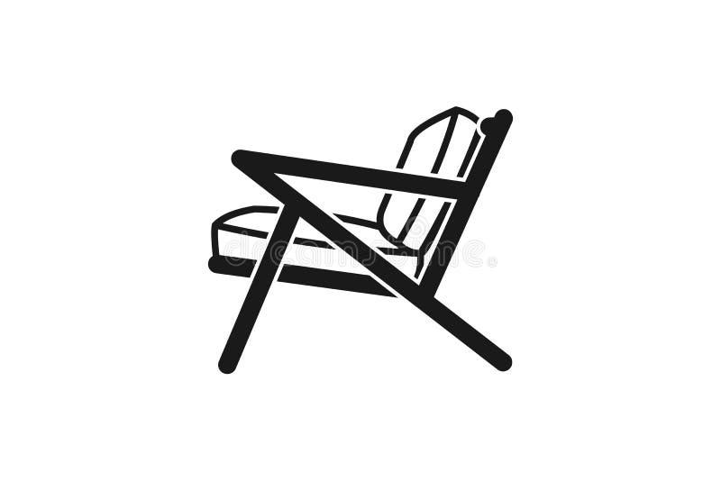 plats mono linje logo för stol vektor illustrationer
