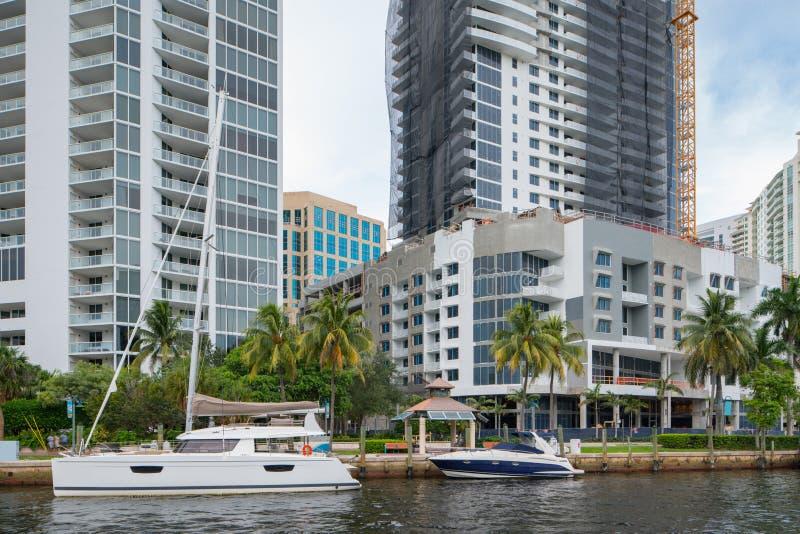 Plats på Fort Lauderdale Florida för TarponflodLas Olas arkivfoto
