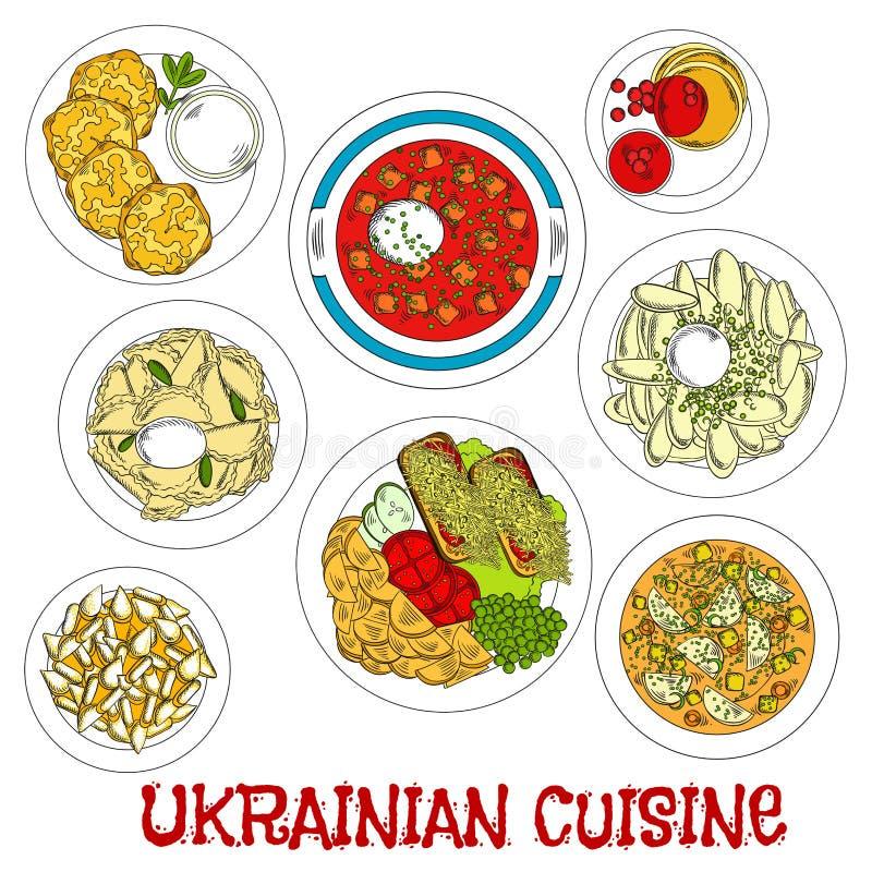 Plats sans viande ukrainiens esquissés pour l'icône Lent illustration stock