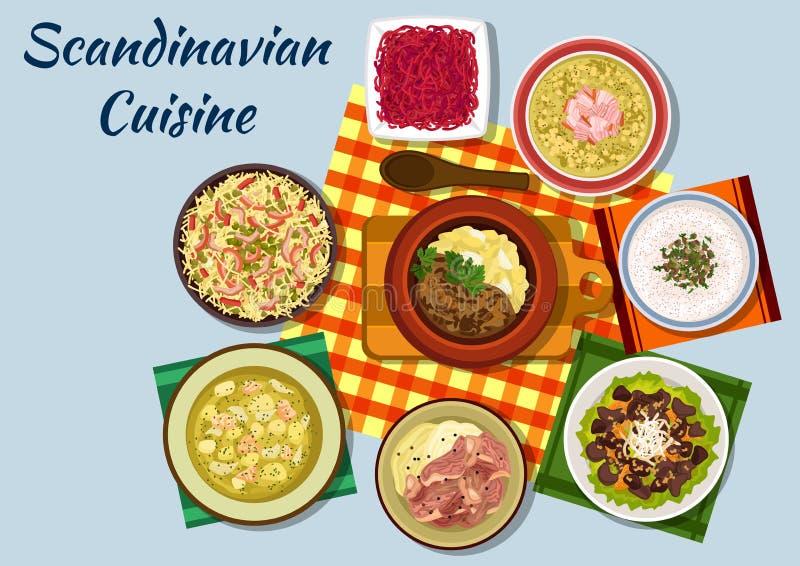 Plats traditionnels de déjeuner de cuisine scandinave illustration libre de droits
