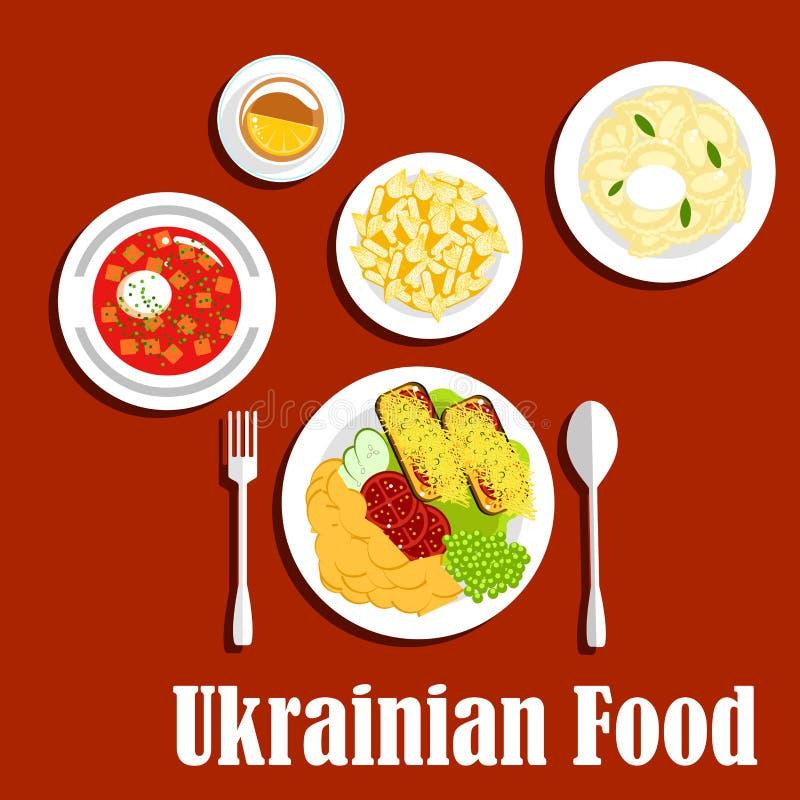 Plats ukrainiens nationaux de cuisine réglés illustration de vecteur