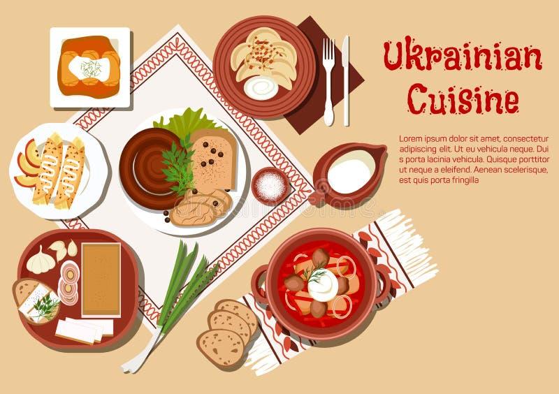 Plats ukrainiens traditionnels de cuisine réglés illustration de vecteur