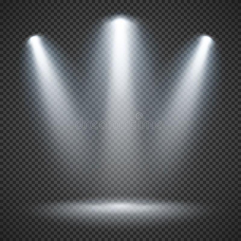 Platsbelysning med ljus belysning av strålkastarevektorn stock illustrationer