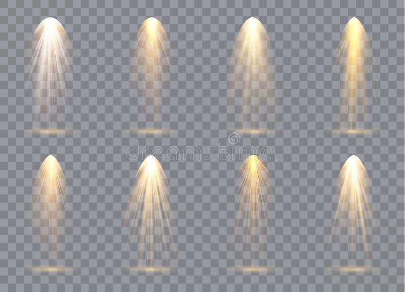 Platsbelysningsamling, genomskinliga effekter Ljus belysning med strålkastare också vektor för coreldrawillustration royaltyfri illustrationer