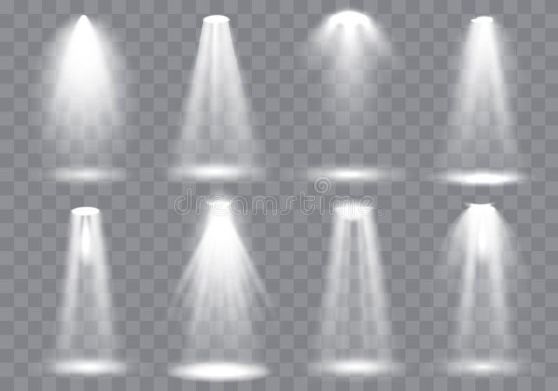 Platsbelysningsamling, glödande genomskinliga studioljuseffekter Ljus belysning med strålkastare också vektor för coreldrawillust vektor illustrationer