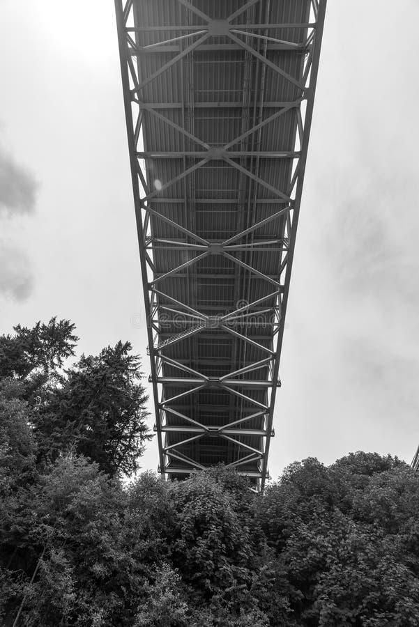 Platsen av trånga passet stålsätter bron i Tacoma, Washington, USA arkivfoto