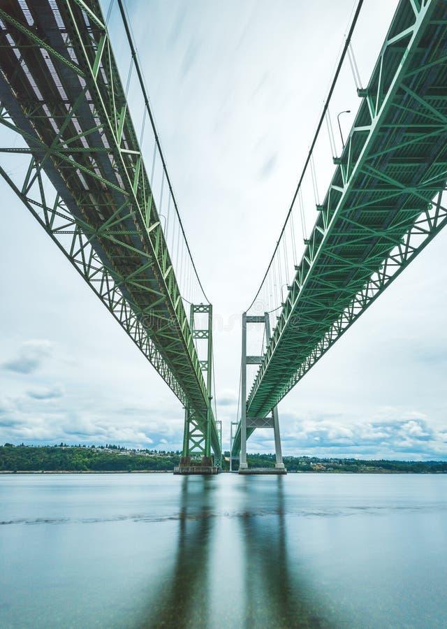 Platsen av trånga passet stålsätter bron i Tacoma, Washington, USA royaltyfria bilder