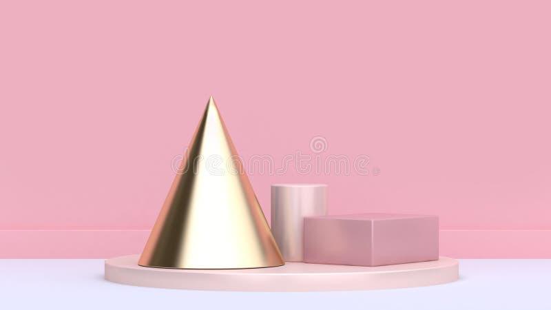Platsen 3d för cylindern för den guld- kotten framför den rosa och minsta rosa för bakgrund för fyrkantig vit för golv rosa för v royaltyfri illustrationer