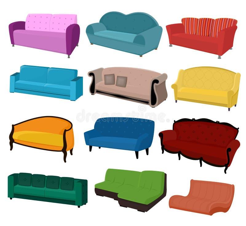 Platsen för soffan för soffavektormöblemang möblerade inredesign av vardagsrum på lägenhethemillustrationen som möblerar uppsättn vektor illustrationer
