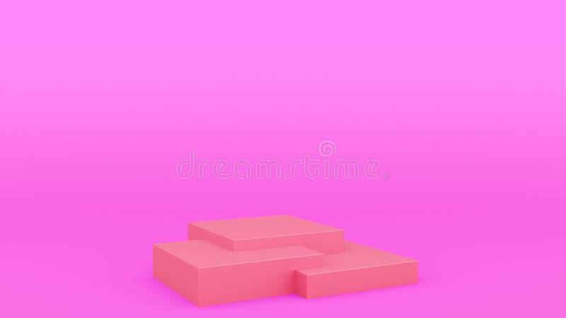 Platsen minsta 3d som för det geometriska podiet för asken ställer ut den purpurfärgade upp framför modern minimalistic åtlöje, d vektor illustrationer